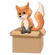 Orange Fox in a Box standing up