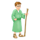 Bible Times Boy wearing green with a staff
