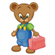 Button Bear holding a red lunchbox