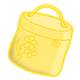 Round Yellow Lunchbox with flowers on it