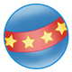 Blue Ball with red stripe and yellow stars