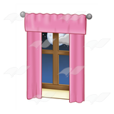 Window with Pink Curtains