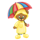 Button Bear wearing a raincoat, hat, boots, and umbrella