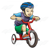 Boy on Red Tricycle