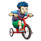 Boy on Red Tricycle wearing blue helmet