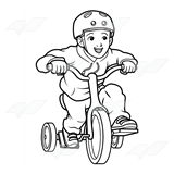 Boy on Blue Tricycle