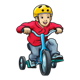 Boy on Blue Tricycle wearing yellow helmet