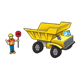 Dump Truck with construction worker holding a stop sign