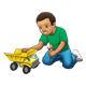 Boy Playing with dump truck and workman