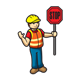 Toy Construction Worker holding a stop sign