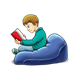 Boy in Beanbag Chair reading red book