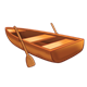 Wooden Rowboat with oars
