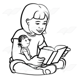 Girl Reading with Doll