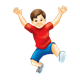 Boy in Red Shirt jumping