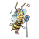 Singing Bee girl with microphone and music notes