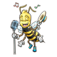 Singing Bee boy with microphone and music notes