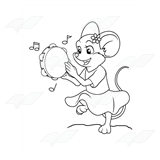 Mouse Playing Tambourine