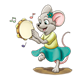 Mouse Playing Tambourine music notes and ground