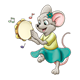 Mouse Playing Tambourine music notes