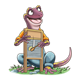 Salamander playing washboard while sitting on ground