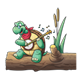 Turtle Playing a Banjo sitting on a log with cattails and music notes