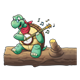 Turtle Playing a Banjo sitting on a log with music notes
