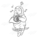 Owl Playing a French Horn