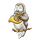 Owl Playing a French Horn sitting on a branch