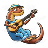 Salamander Playing Guitar
