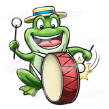 Bullfrog Playing a Drum