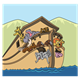 Animals on the Ark with water and hills