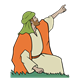 Shepherd in Orange Garment pointing
