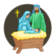Nativity Scene Mary, Joseph, Jesus, and background