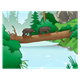 Log Bridge over River in forest with two bear cubs crossing