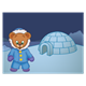 Button Bear in parka with igloo