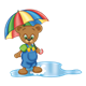 Button Bear in puddle with umbrella