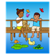 Boy and Girl on the Pier with animals