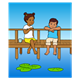 Boy and Girl on the Pier with mug