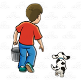 Boy with Pail and Dog