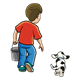 Boy with Pail and Dog walking