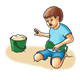 Boy Digging in Sand green shovel and pail
