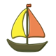 Sailboat with orange and yellow sails