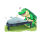Crocodile Playing Piano on grass, has music notes