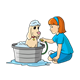 Girl Washing Dog in tub with hose