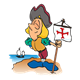 Christopher Columbus with flag and ship