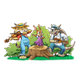 Forest Hoedown bobcat, rabbit, armadillo playing instruments