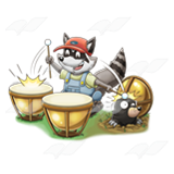 Raccoon Playing Drums
