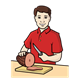 Ham on Cutting Board with man and knife