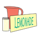Lemonade Stand pitcher, glass, and sign without price