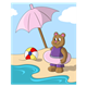 Bear at the Beach with umbrella, beach ball, and inner tube